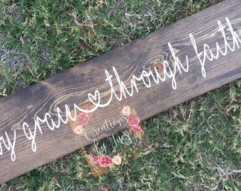 By Grace Through Faith, Wood Sign, Rustic Sign, Faith sign, Hand painted sign, rustic wood sign, home decor, rustic