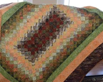 Lap Quilt, Throw Quilt, Wall Hanging Batik, Orange, Red Green Quilt, Bargello Quilt, Earthtone, Handmade
