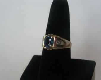 Vintage 14 K Solid Gold Blue Spinel Men's Ring