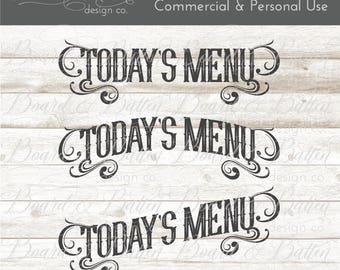 Menu SVG File - Today's Menu Cutting File - Silhouette Cut File - Cricut SVG Files - Menu Dxf File - Home Decor SVG - Silhouette Curio