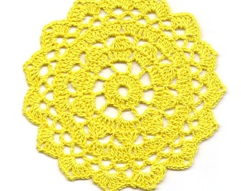 Mini Crochet Doily Lace Doilies Table decoration Crocheted Doily Centerpiece Handmade Wedding Napkin Bohemian Decor Round Yellow Flower Sun