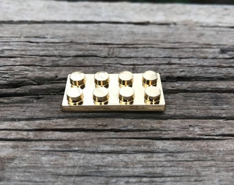 3D Brick Hard Enamel Pin in Gold