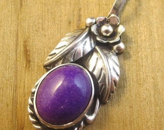 Vintage Southwest Sugilite Necklace Pendant Sterling Silver