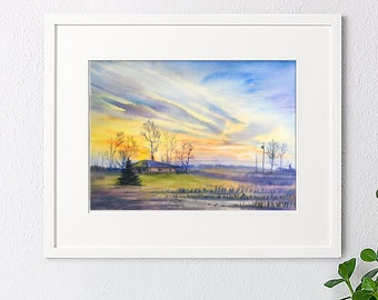 Original watercolor painting, Landscape painting,watercolor landscape,watercolor field,handmade,abstract sunset, sunset field,house gift