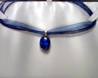 Blue dichroic glass pendant