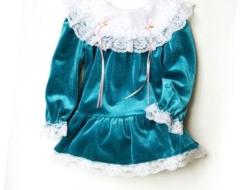 Vintage Dress 24 month/ 2T Vintage Velvet Turquoise Dress - Velvet and Lace - Sweet Treats