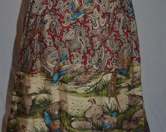 Womens Vintage Northern Tradition Paisley Skirt with Birds by the water - Size Large