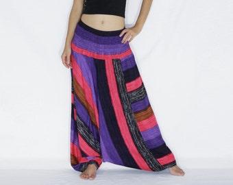 Women Convertible Jumpsuit Harem Pants / Pink Purple Yoga Pants /  Vertical Striped Harem Pants / Music Festival Pants - CP PNT005