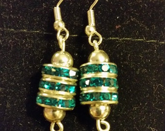 Brilliant Faceted Blue Zircon Bead Earrings