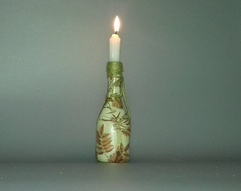 Small Autumn Leaf Bottle Candle Holder