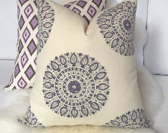 Cream & Purple Throw Pillow in Indian Medallion Print