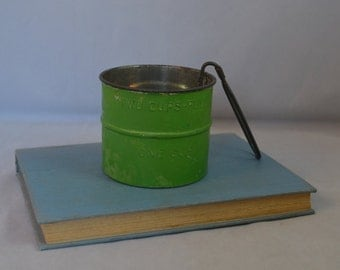Vintage Green Two Cup Metal Flour Sifter