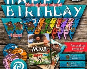 Moana Maui Birthday Party Pack Bundle Disney Vaiana Birthday Boy Girl Decor Kit Instant Download Printable Customized Personalized DIY