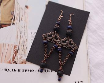Long dangle earrings, geometric jewelry, modern earrings, bohemian chic earrings, gift for her, boho earrings