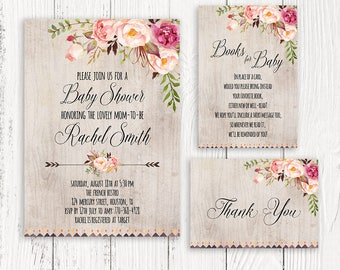 Floral Baby Shower Invitation Printable, Boho Baby Shower Invite, Rustic  Invitation, Floral Invitation