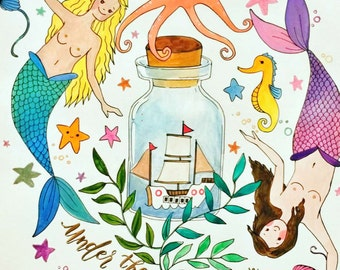 Under The Sea Mermaid Watercolor Drawing Print (#FreeTheNipple Movement)