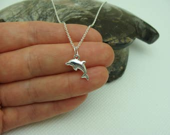 Sterling Silver Necklace, Dolphin Necklace, Sterling Silver Dolphin pendant, sterling silver dolphin charm
