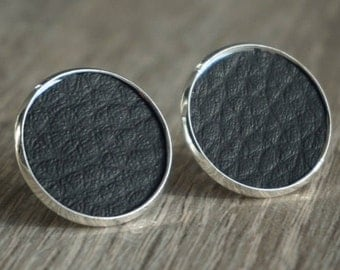 Stud Earrings, earrings - 16 / 18 mm silver, leather, artificial leather