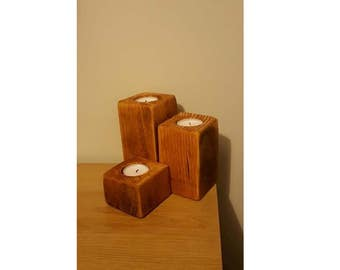 3x Pine Tealight Holders - Square Wooden Candle Holders