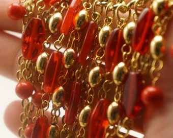 Coral Red Statement Necklace, Gold Chain Necklace, Red and Gold Necklace, Beaded Chain Necklace