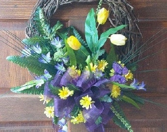 Spring Wreath with Tulips, Mixed Flowers and Butterfly