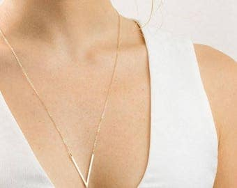 V Necklace Gold Point Necklace, Triangle Necklace, Angled Bar Necklace