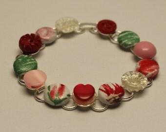 Cherry Blossom Vintage Button Bracelet