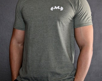 Military Green Gym Tee - Modern Jock Logo Tee - Gym Shirt - Fitted Sleeves - Perfect Fitting Gym Shirt - Gym t-shirt by Modern Jock