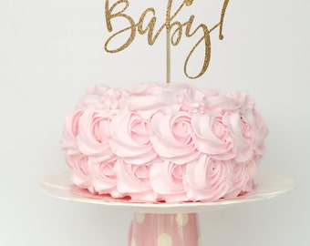 Baby shower cake topper, baby shower cake top, gender reveal cake topper, baby shower decorations, oh baby cake topper, gold cake topper
