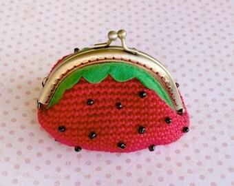 Purse of crochet Strawberry / crochet purse