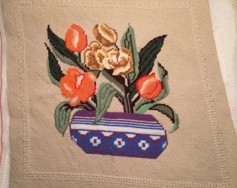 Canvas in Needlepoint of Tulips
