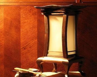 Handmade Himalayan Salt Table Lamp, Original Wooden Lamp, Asian Style Lamp