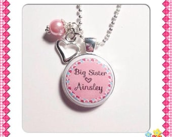 CUSTOM BIG SISTER Charm Pendant, gift for New Big Sister, Sister charm pendant