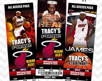 Miami Heat Invitation, Miami Heat Birthday Party, Heat Basketball Invites, Lebron VIP Pass, Ticket Invitation, Save the Date, Baby Shower