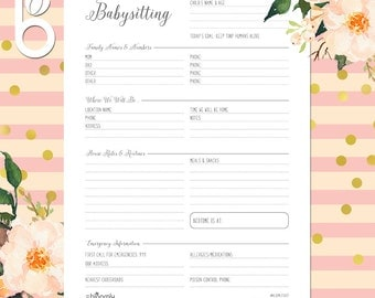 Babysitter Form, Babysitter Notes, Babysitter Sheet, Babysitting, Planner, Instructions, Checklist, Contacts, Family Planner, Printable