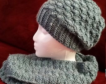 Shell slouchy hat and infinity scarf