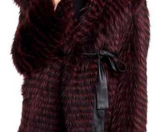 Raspberry Raccoon Layered Parka with Leather Belt