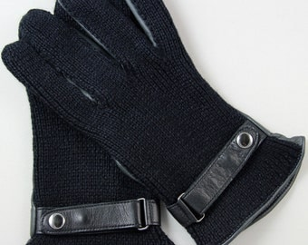Man black leather glove d lamb and mesh, double silk.
