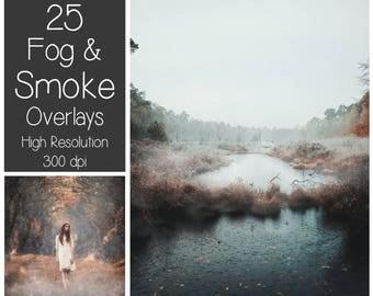 25 Fog Overlays - Smoke Overlays - Mist Photoshop Overlays - Misty Landscape - Autumn Weather - Photography Overlay - Foggy Texture - Season