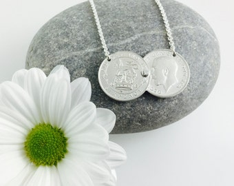 Silver Double Coin necklace, stone set, lucky sixpence or three pence pre 1920, Holly Willoughby, sixpence threepence necklace