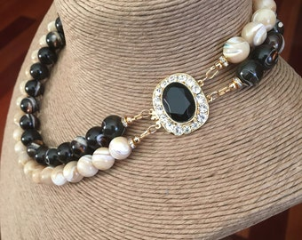 Coffee & Cream necklace: mother of pearl, vintage jet and rhinestone box clasp, double strand