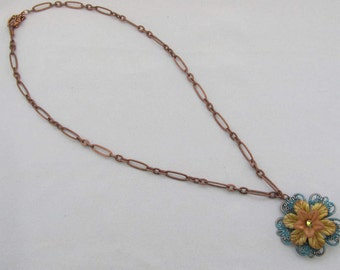 Floral Fantasy women's necklace for sale. Hand painted  flower and filigree necklace with copper chain and matching earring.