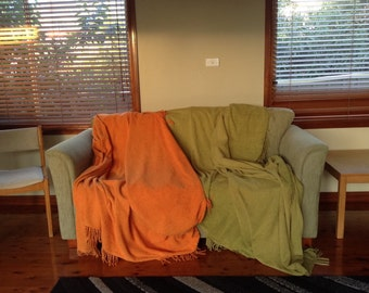 Pair of 1970s Throws, Orange and Lime Green
