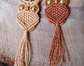 Macrame OWL pendant / necklace OWL / macrame OWL