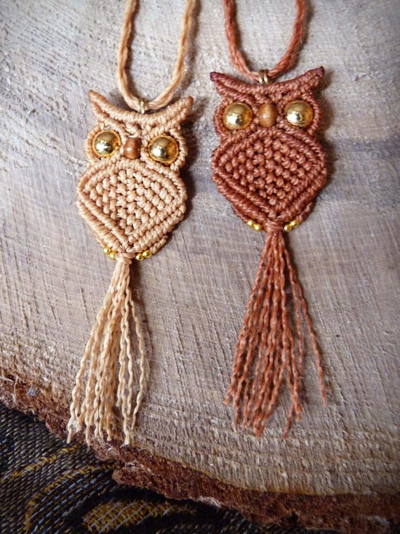 items similar to macrame owl pendant necklace owl macrame owl on etsy. Black Bedroom Furniture Sets. Home Design Ideas
