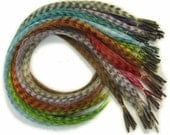 Prebonded I-Tip Extensions/Synthetic Hair Feathers, Grizzly Striped