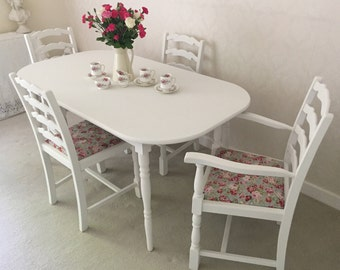 Shabby Chic Table and Chairs NOW SOLD  Kitchen Dining Table And 4 Chairs Farmhouse Table Painted Furniture Cabbages And Roses Vintage Chairs