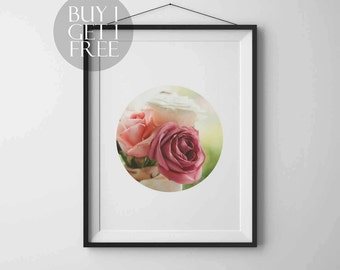Flower print Rose print Circle print Nature Photography Instant download Printable art Wall art Nature poster Modern art