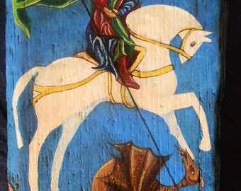 Saint George and the Dragon hand painting
