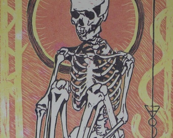 Limited edition 3 Color Woodcut Print: Waiting
